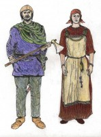 Viking man and woman - watercolour by Veronica Moran